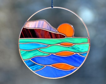 Stain glass suncatcher, sunset sea landscape suncatcher, window hangings, mountains stained glass