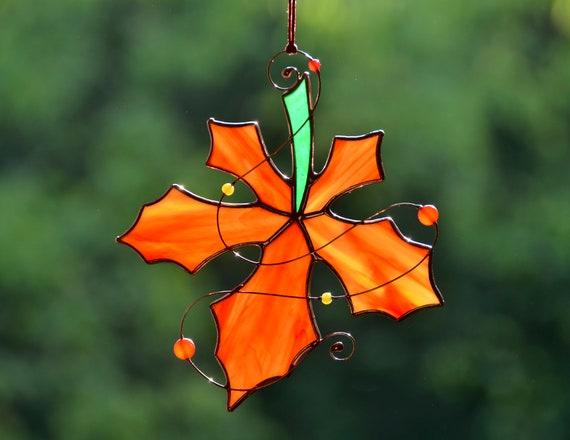 Décor d'automne de verre souillé suncatcher de f...
