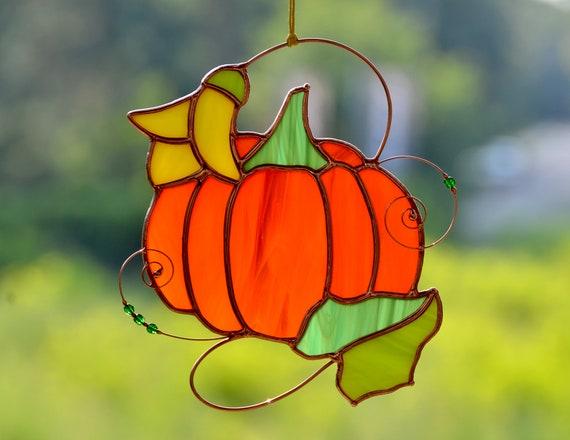 Vitrail Halloween citrouille suncatcher vitrines d...