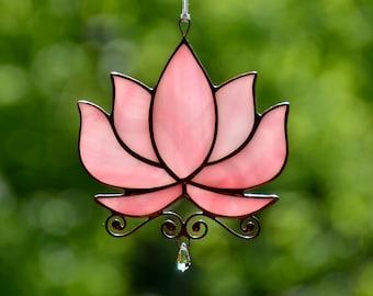 Stained glass suncatcher, glass flower lotus window hangings, crystal suncatcher, yoga lover gift