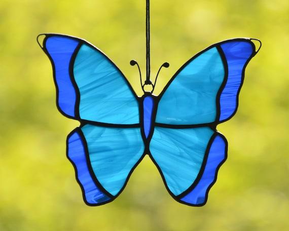 Stained glass suncatcher Butterfly Custom stained glass window hangings butterfly memorial stained glass mandala Garden decor