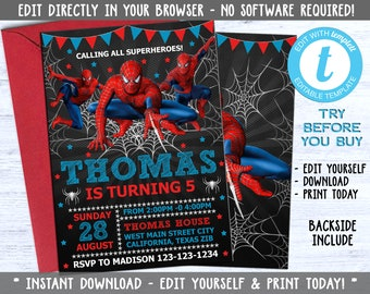 Editable Spiderman Invitation Party Printable Invite Birthday