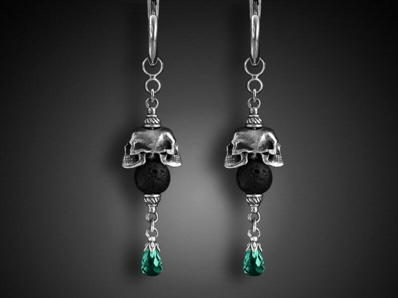 Skeleton jewelry Biker SkulThick Hoop earringGothic Skull image 0