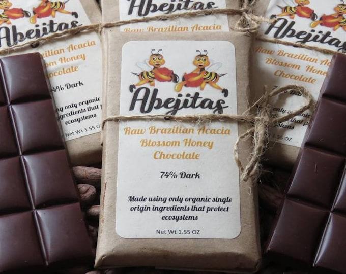 76% Dark | Abejitas Raw Honey Chocolate | 4 Bars | Organic, Paleo, Refined Sugar-Free, No Additives, Dairy, Soy, Gluten & GMO Free