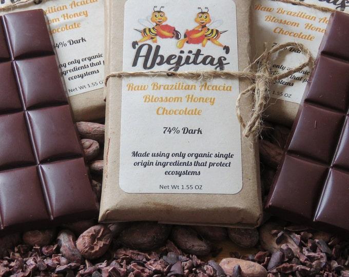 76% Dark | Abejitas Raw Honey Dark Chocolate | 1 bar | Organic, Paleo, Refined Sugar-free, No Additives, Dairy, Soy, & Gluten Free