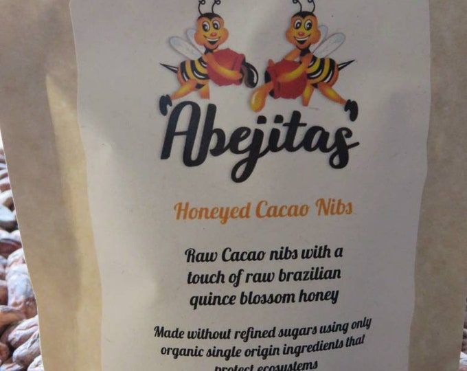 Abejitas Raw Honey Cacao Nibs | 2 Oz bag | Organic, Paleo, Refined Sugar-Free, No Additives, Dairy, Soy, Gluten & GMO Free
