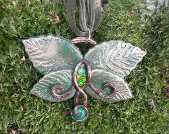 handsculpted necklace from polymer clay in pink with rhinestone and semiprecious stone Leafy Butterfly