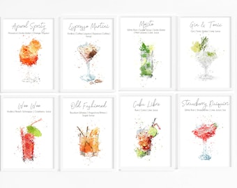 Watercolour Alcohol Cocktail Prints - Set of Kitchen Prints, Alcohol Ingredients prints, Cocktail Pictures, Alcoholic Drink Poster, Glasses