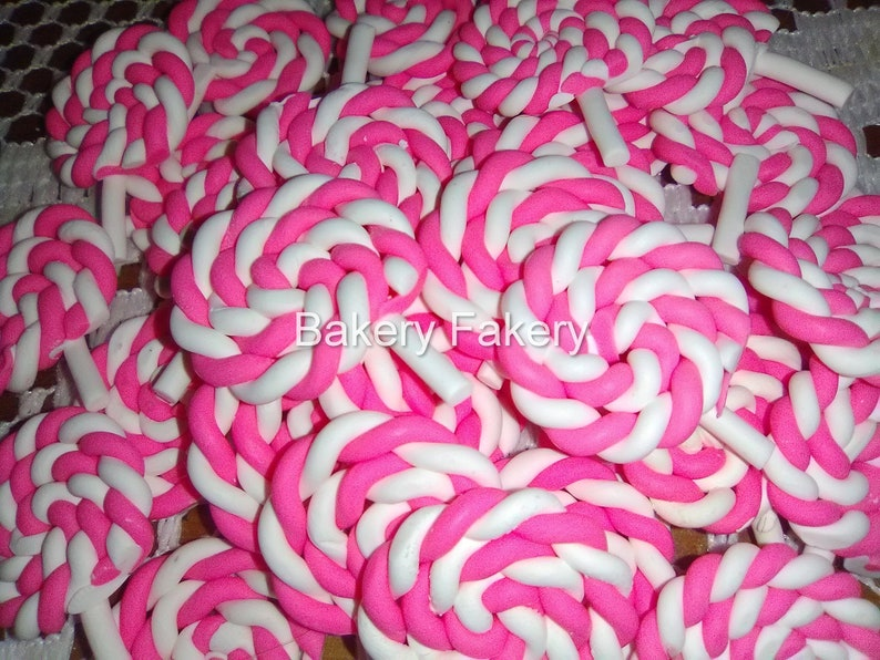Fake Candy Lollipops Swirl Pinwheels Candyland Themed Lollipop Cabochons Miniature Pink Slime Charms Decoden Kawaii