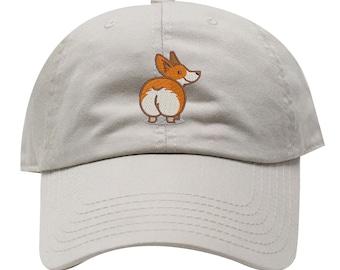 Christmas Corgi Baseball Cap Adjustable Washed Cotton Dad Hat Hats Black