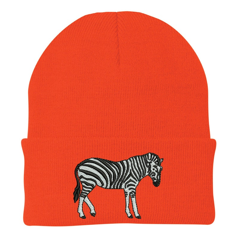 Ink Stitch USA Zebra Embroidered Winter Skull Beanie Hats 9 Colors