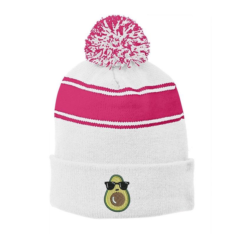 6 Colors INK STITCH Stc28 Avocado Stripe Unisex Winter Pom Pom Beanie Hats