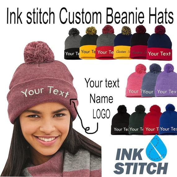 Ink Stitch SP15 Custom Beanie Personalized Pom Pom Winter Beanie Hats Custom Hats - 28 Colors