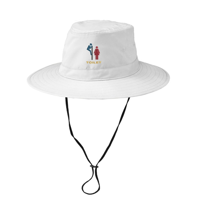 Ink Stitch Funny Toilet Sign Embroidered Upf 30 Summer Bucket Hat With String 3 Colors
