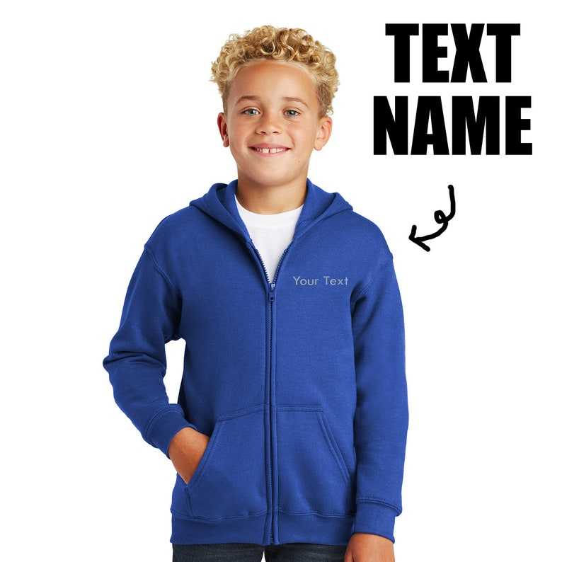 Ink Stitch Youth Boys and Girls 18600B Custom Text Stitching Name Hooded Zip Up Jacket 5 Colors