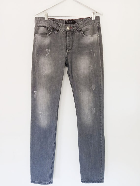 Philipp Plein 32 men's jeans. Straight cut gray je