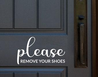 Custom Vinyl Decals Personalized Door Decal Custom Please Remove Your Shoes Vinyl Door Decal 17x3.8 Please Remove Shoes Vinyl Decal