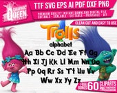 Trolls font ttf Installable on PC, Trolls alphabet, Trolls SVG, Trolls letters,decal,vinyl,stencil, Trolls Printable Clipart png dxf pdf eps