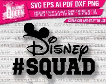 Disney #Squad svg, Mickey Mouse Ears svg , Disney World svg, Digital Printable Cut File Clipart for Cricut Silhouette–eps,dxf,png,pdf,ai–DIY