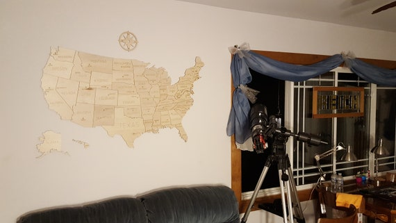 USA Wooden Map, traveler map, state borders and state name and capitals.  Ships from USA