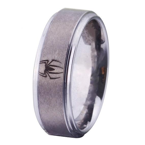 Mens Silver Tungsten Spiderman Design Wedding Band Ring