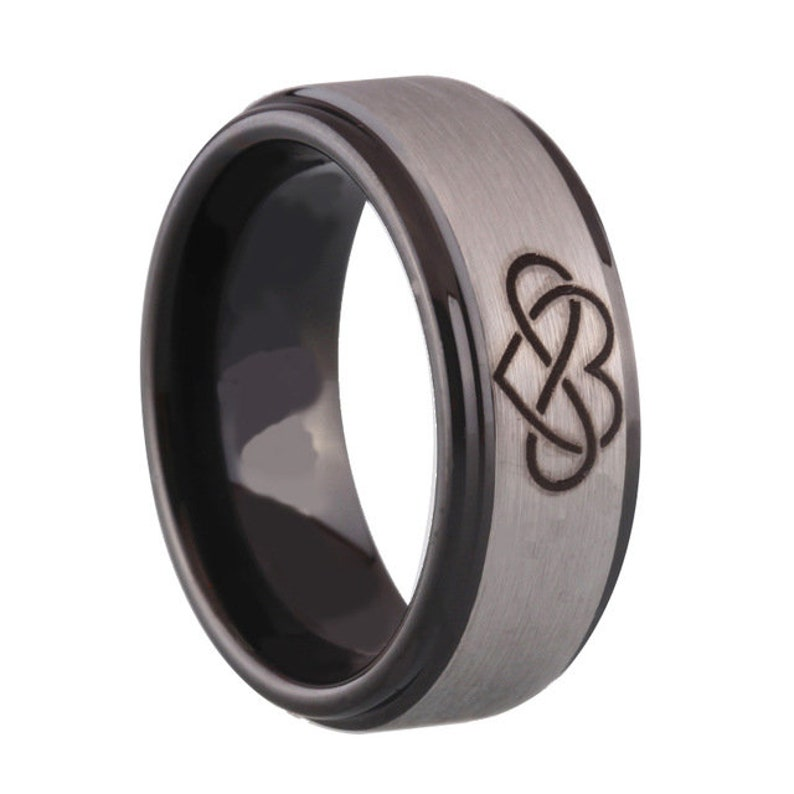 Black Silver Infinity Heart Tungsten Ring Men Women Couple Promise Engagement Wedding Anniversary Gift Band Ring Jewelry