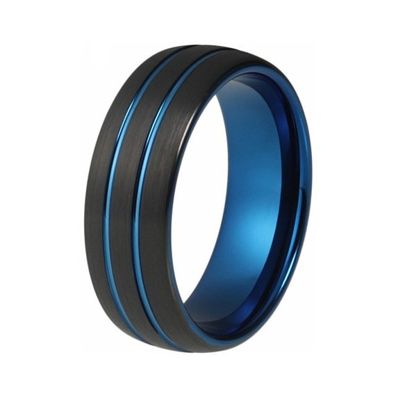 Blue Center Grooved Black Tungsten Ring Men Women Couple Promise  Engagement Wedding Anniversary Gift Band Ring Jewelry