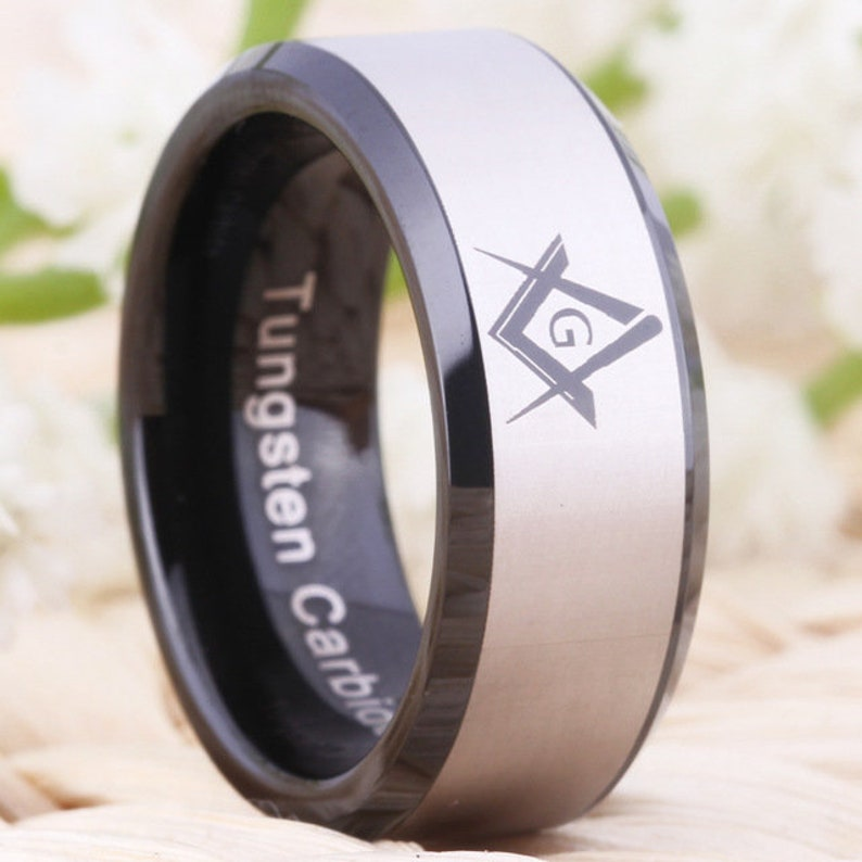 Mens Black Tungsten Masonic Freemasons Design Wedding Band Ring