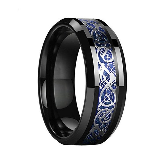 Black Celtic Dragon Ring With Blue Carbon Fiber Inlay Men Etsy