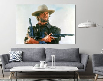#12 Clint Eastwood Cowboy Western 36x48 inch More Sizes Poster Canvas Frame