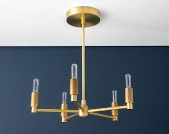 Brass Chandelier - Hanging Lights - Modern Chandelier - Light Fixture - Modern Lighting - Dining Room Light - Brass Light - Model No. 5430
