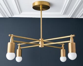 Gold Chandelier - Brass Lighting - Kitchen Chandelier - Modern Ceiling Light - Art Deco Lamps - Ceiling Chandelier - Model No. 4465