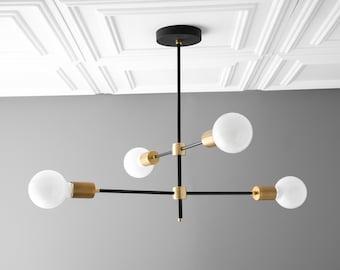 Globe Chandelier - Mobile Light - Contemporary Lights - Dining Room Light - Orb Chandelier - Black Brass - Foyer Chandelier - Model No. 5598
