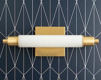 Modern Art Deco - Vanity Light - Modern Vanity Sconce - Tube Light - Opal Vanity Light - Modern Brass Fixture - Model No. 1210