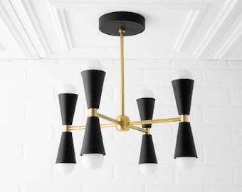 Chandelier - Black Brass - Geometric Chandelier - Handing Light - Mid Century Lighting - 1950s - Modern Chandelier - Model No. 1047