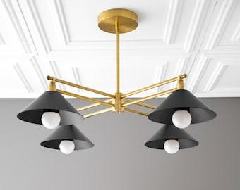 Gold Chandelier - Modern Light Fixture - Square Chandelier - Contemporary Light - Pendant Chandelier - Golden Brass - Model No. 9344