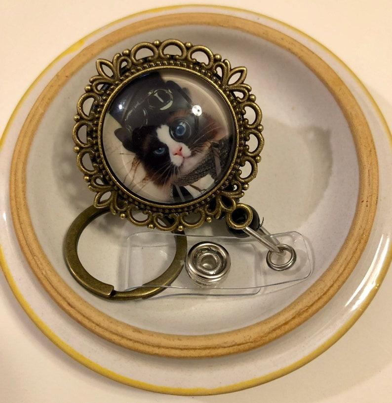 Brass Tone EMT, Vet Steampunk Kitty Pendant Badge Holder with Key Ring Nurse Clip Cat Lover
