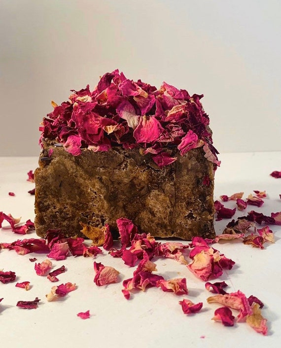 African Black soap with rose petals