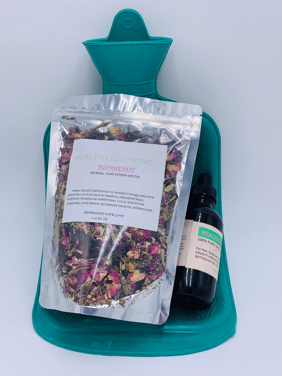PCOSMENOT yoni steam tea blend, 1 Rubber Heat Water bag and One 4oz Castor oil ( dropper OR cap)