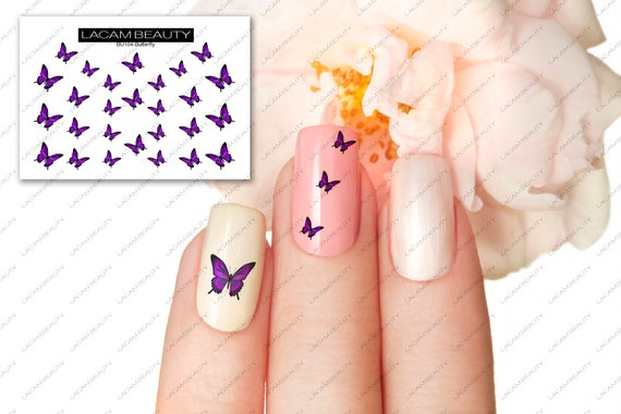Purple Butterfly Nail Decal Water Decals Nail Art Etsy