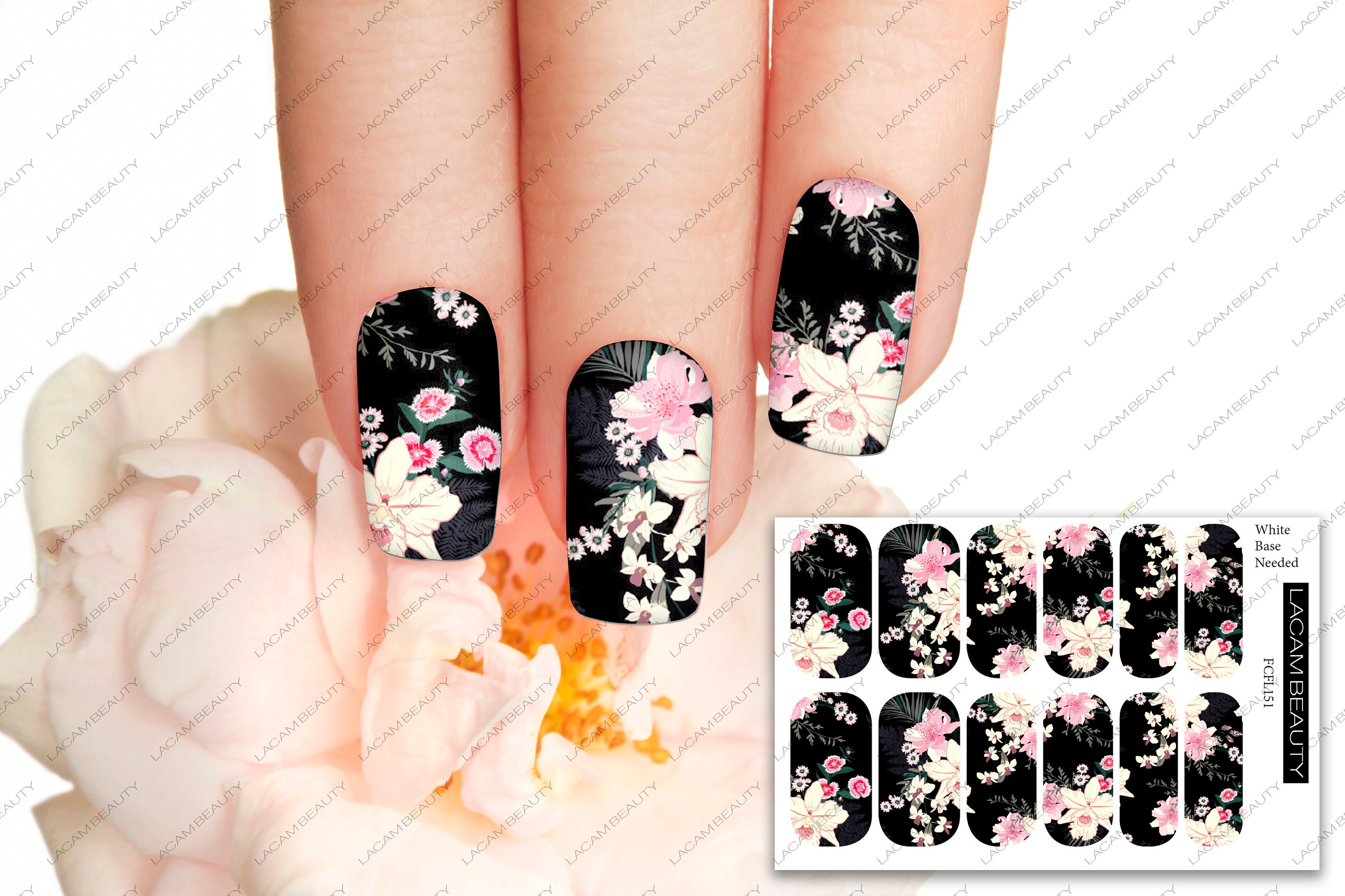 Full Cover Floral On Black Nail Decal Water Decals Nail Etsy