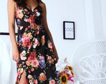 c5a3a59f371 Robe Bohème Vintage Florale Noir Noeud à la Poitrine Longue Fait Main  Hippie Demoiselle d Honneur Mariée Baptême