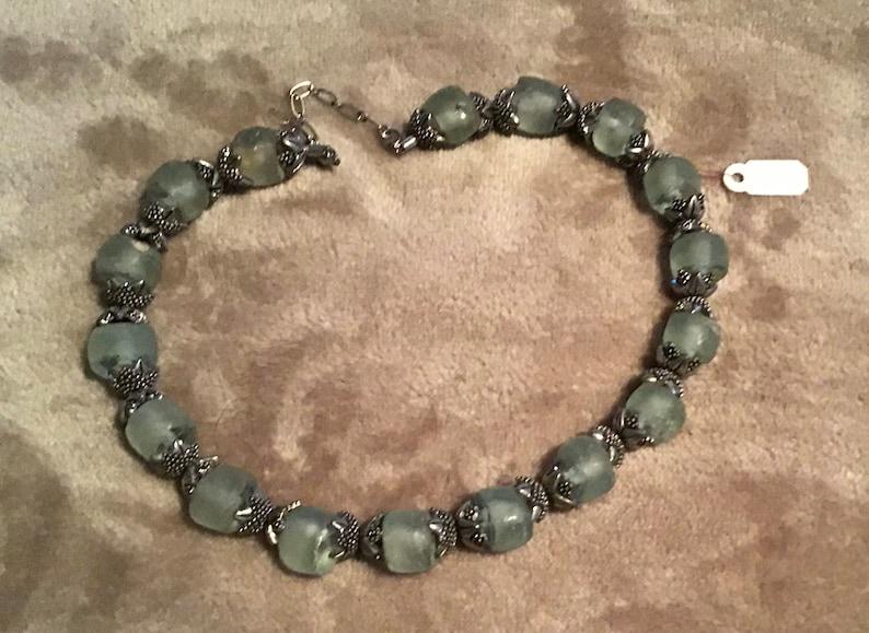 Glass Czech necklace handmade.