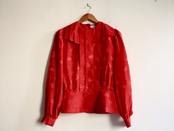 80s red silk pleated structured blouse 1980s vinta