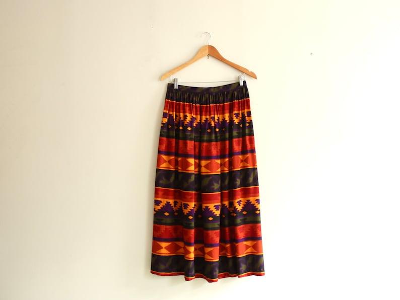 70s RAYON maxi sunset skirt 1970s vintage