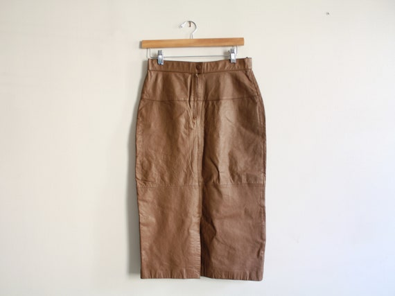 80s LEATHER brown long pencil skirt 1980s vintage