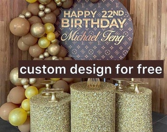 PRINTED-Backdrop-Custom design for free Birthday round fabric backdrop Banners,Photography custom Newborn 1 year background stand party deco
