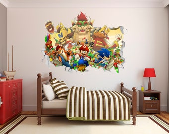 Fortnite Combat Video Game 3D Hole In Wall Wall Sticker Decal DIY Mural