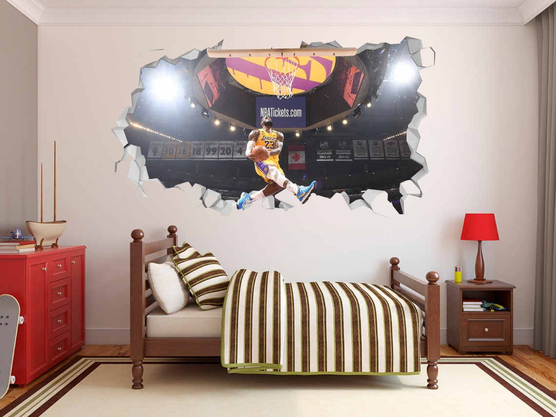 Lebron James Dunk Wall Hole 3D Decal by Krisshop22