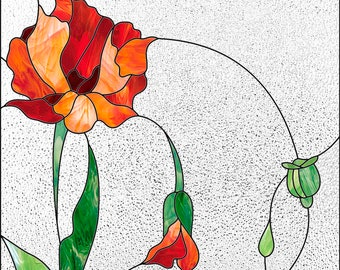 POPPIES stained glass pattern, stain glass window pattern to download PDF